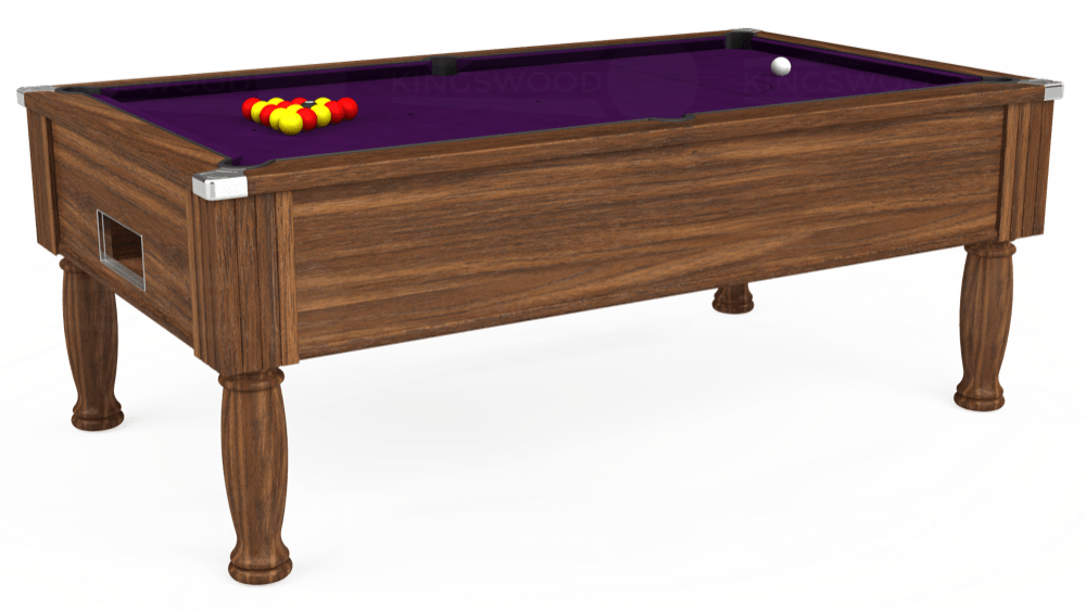 7ft Monarch Free Play Pool Table in Dark Walnut with Hainsworth Elite-Pro Purple cloth delivered and installed - £1,170.00