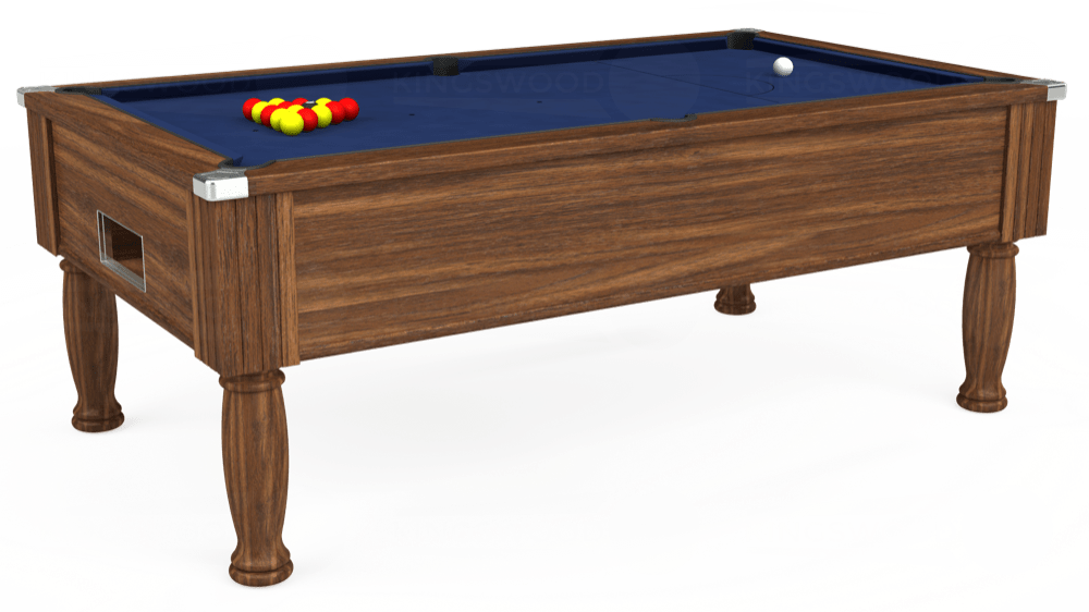 7ft Monarch Free Play Pool Table in Dark Walnut with Hainsworth Smart Navy cloth delivered and installed - £1,170.00