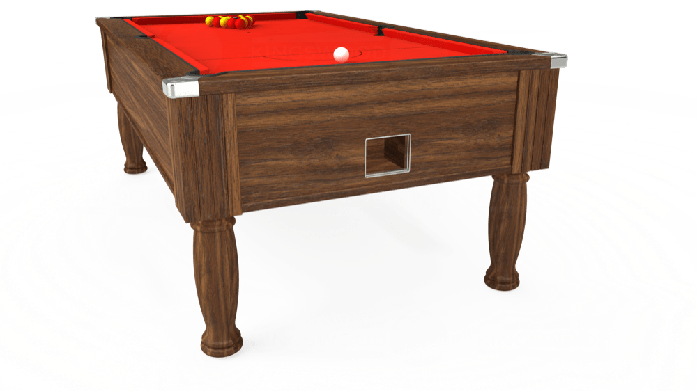 7ft Monarch Free Play Pool Table in Dark Walnut with Hainsworth Smart Orange cloth delivered and installed - £1,250.00