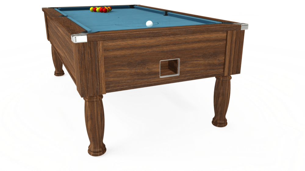 7ft Monarch Free Play Pool Table in Dark Walnut with Hainsworth Smart Powder Blue cloth delivered and installed - £1,170.00
