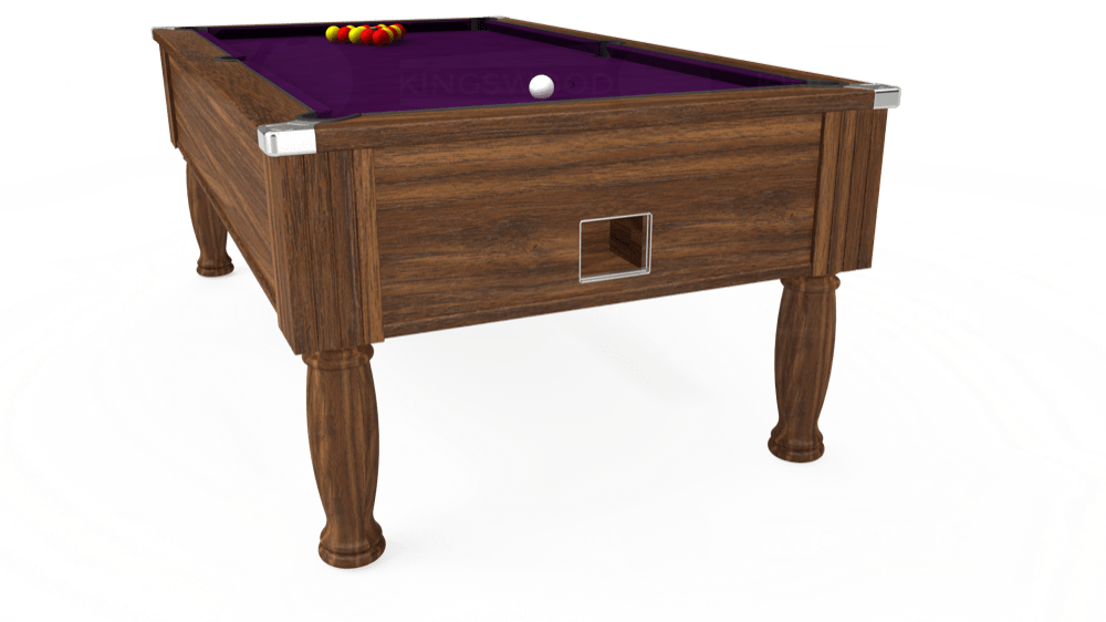 7ft Monarch Free Play Pool Table in Dark Walnut with Hainsworth Smart Purple cloth delivered and installed - £1,250.00