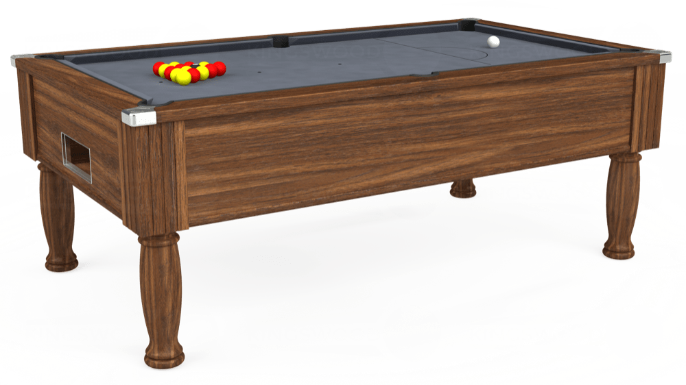 7ft Monarch Free Play Pool Table in Dark Walnut with Hainsworth Smart Silver cloth delivered and installed - £1,170.00