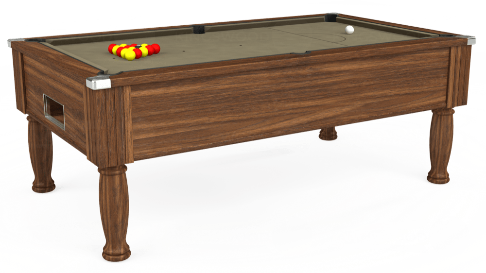 7ft Monarch Free Play Pool Table in Dark Walnut with Hainsworth Smart Taupe cloth delivered and installed - £1,170.00