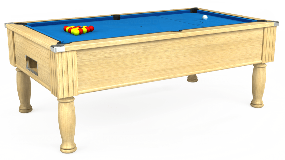 7ft Monarch Free Play Pool Table in Light Oak with Hainsworth Elite-Pro Electric Blue cloth delivered and installed - £1,250.00