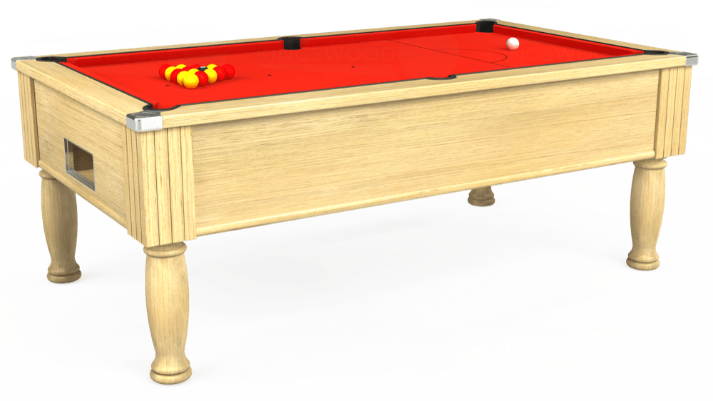 7ft Monarch Free Play Pool Table in Light Oak with Hainsworth Smart Orange cloth delivered and installed - £1,250.00