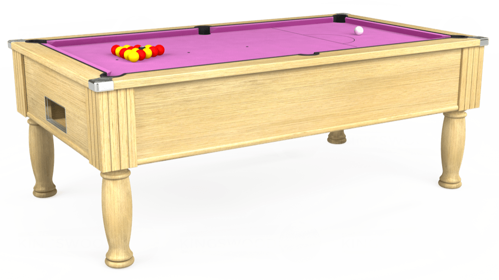 7ft Monarch Free Play Pool Table in Light Oak with Hainsworth Smart Pink cloth delivered and installed - £1,250.00