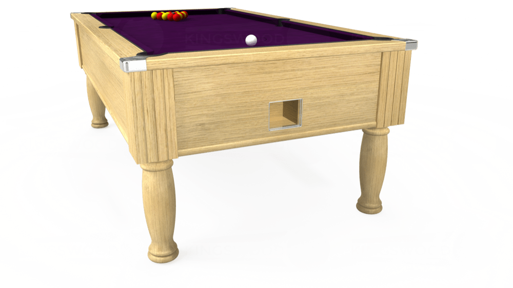 7ft Monarch Free Play Pool Table in Light Oak with Hainsworth Smart Purple cloth delivered and installed - £1,250.00
