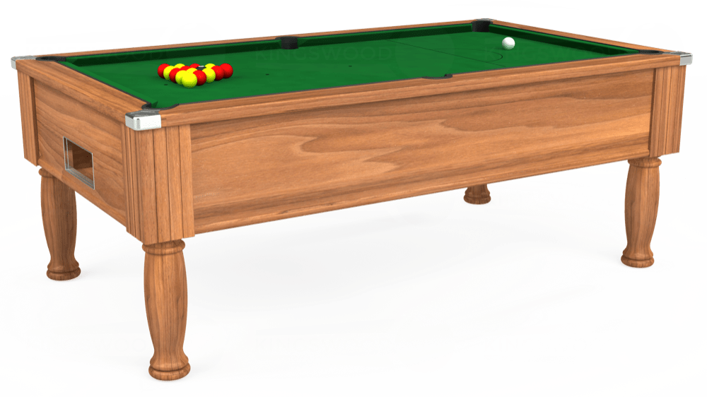 7ft Monarch Free Play Pool Table in Light Walnut with Hainsworth Elite-Pro English Green cloth delivered and installed - £1,170.00