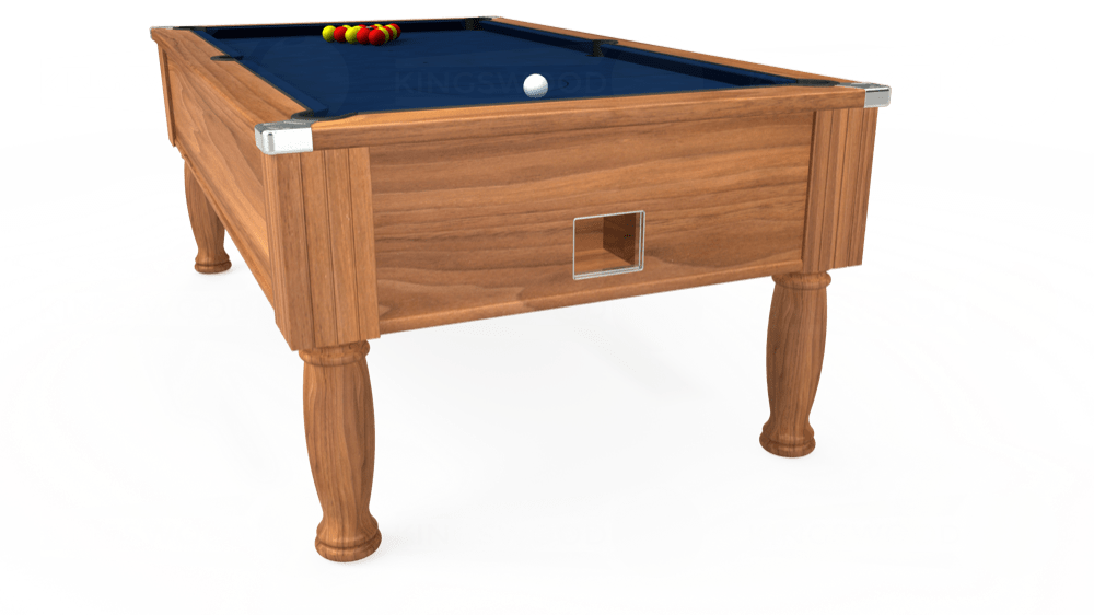 7ft Monarch Free Play Pool Table in Light Walnut with Hainsworth Elite-Pro Marine Blue cloth delivered and installed - £1,250.00