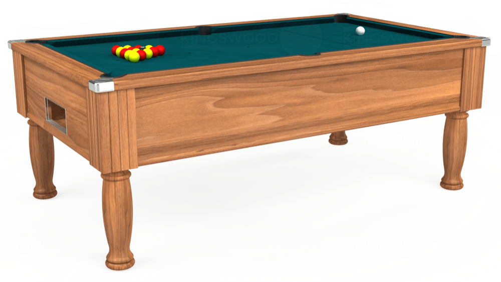7ft Monarch Free Play Pool Table in Light Walnut with Hainsworth Elite-Pro Petrol Blue cloth delivered and installed - £1,250.00