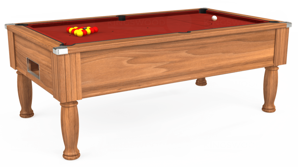 7ft Monarch Free Play Pool Table in Light Walnut with Hainsworth Smart Cherry cloth delivered and installed - £1,250.00