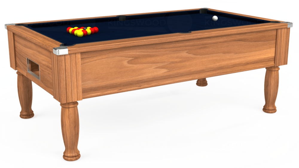 7ft Monarch Free Play Pool Table in Light Walnut with Hainsworth Smart French Navy cloth delivered and installed - £1,250.00