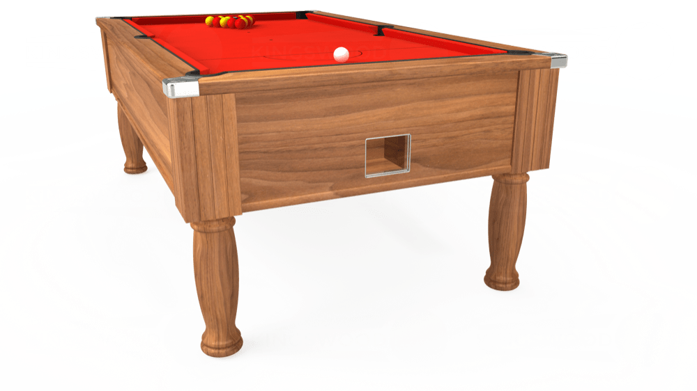 7ft Monarch Free Play Pool Table in Light Walnut with Hainsworth Smart Orange cloth delivered and installed - £1,250.00
