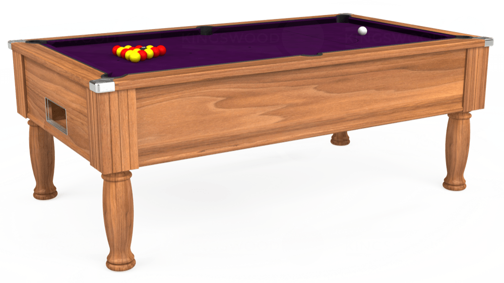 7ft Monarch Free Play Pool Table in Light Walnut with Hainsworth Smart Purple cloth delivered and installed - £1,250.00