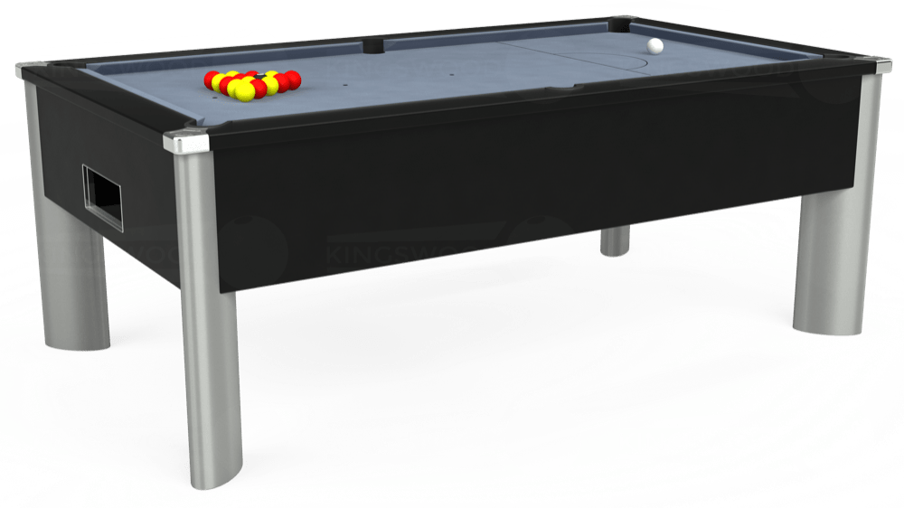 7ft Monarch Fusion Free Play Pool Table in Black with Hainsworth Elite-Pro Bankers Grey cloth delivered and installed - £1,265.00
