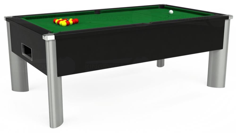 7ft Monarch Fusion Free Play Pool Table in Black with Hainsworth Elite-Pro English Green cloth delivered and installed - £1,240.00