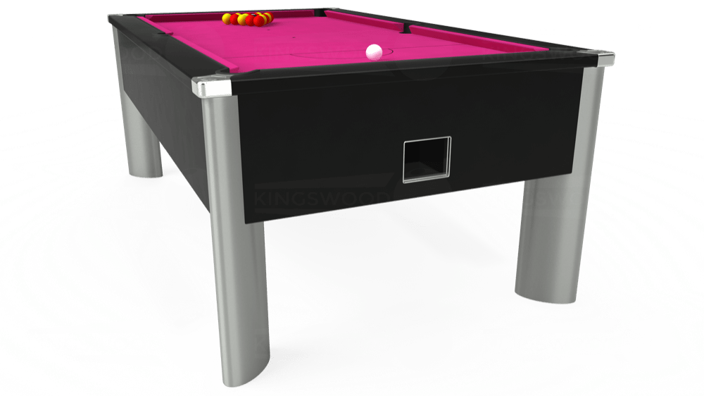7ft Monarch Fusion Free Play Pool Table in Black with Hainsworth Elite-Pro Fuchsia cloth delivered and installed - £1,300.00