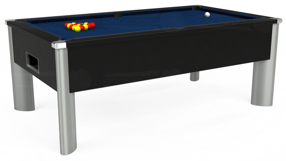 7ft Monarch Fusion Free Play Pool Table in Black with Hainsworth Elite-Pro Marine Blue cloth delivered and installed - £1,300.00