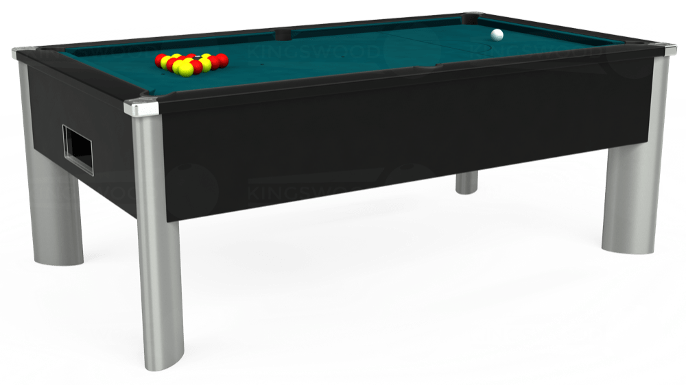 7ft Monarch Fusion Free Play Pool Table in Black with Hainsworth Elite-Pro Petrol Blue cloth delivered and installed - £1,300.00