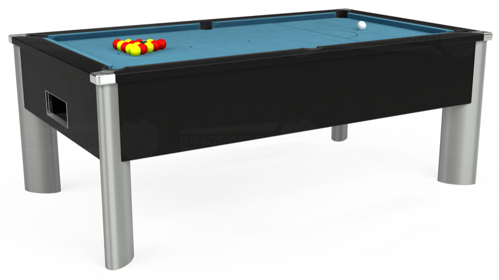 7ft Monarch Fusion Free Play Pool Table in Black with Hainsworth Smart Powder Blue cloth delivered and installed - £1,300.00