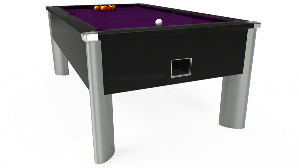 7ft Monarch Fusion Free Play Pool Table in Black with Hainsworth Smart Purple cloth delivered and installed - £1,300.00