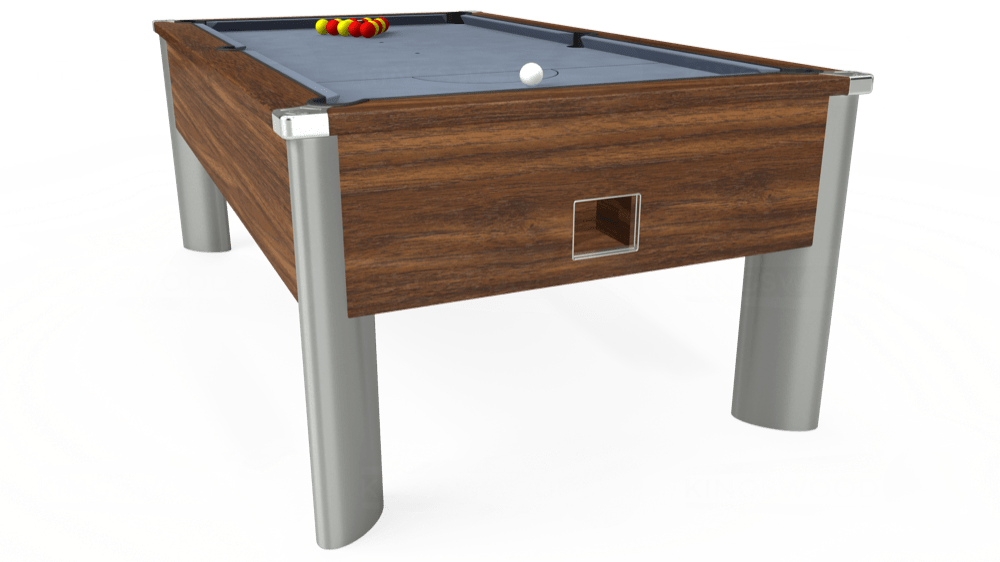 7ft Monarch Fusion Free Play Pool Table in Dark Walnut with Hainsworth Elite-Pro Bankers Grey cloth delivered and installed - £1,265.00