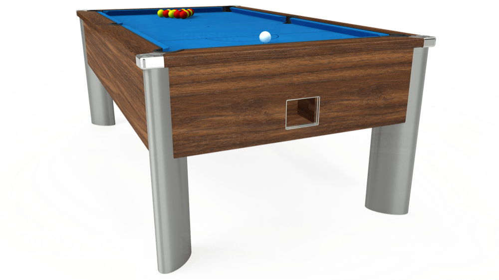 7ft Monarch Fusion Free Play Pool Table in Dark Walnut with Hainsworth Elite-Pro Electric Blue cloth delivered and installed - £1,300.00