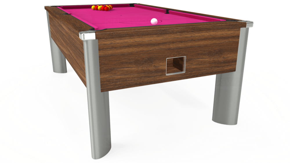 7ft Monarch Fusion Free Play Pool Table in Dark Walnut with Hainsworth Elite-Pro Fuchsia cloth delivered and installed - £1,300.00