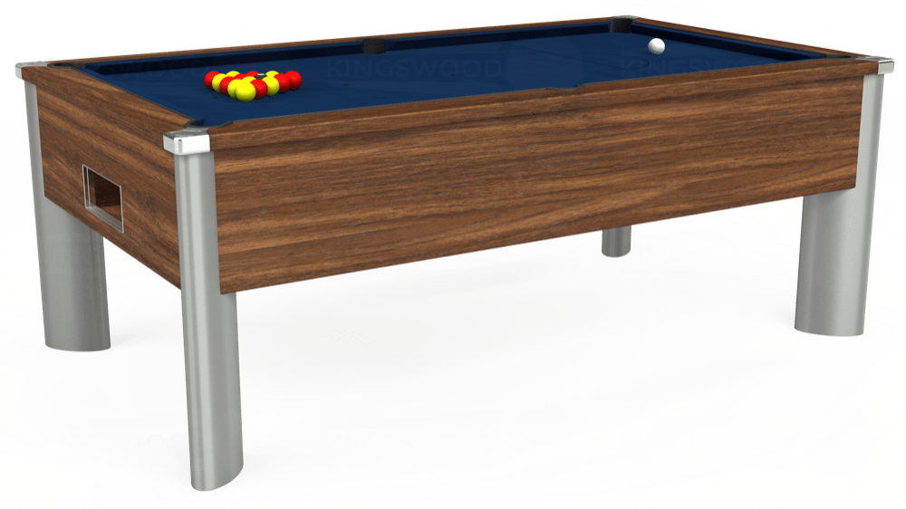 7ft Monarch Fusion Free Play Pool Table in Dark Walnut with Hainsworth Elite-Pro Marine Blue cloth delivered and installed - £1,300.00