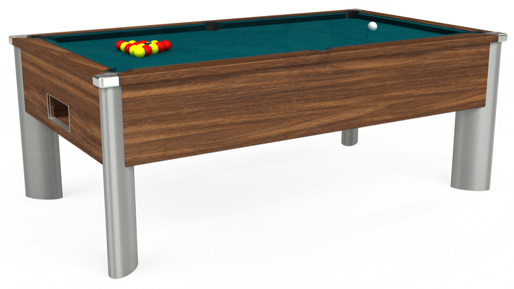 7ft Monarch Fusion Free Play Pool Table in Dark Walnut with Hainsworth Elite-Pro Petrol Blue cloth delivered and installed - £1,300.00