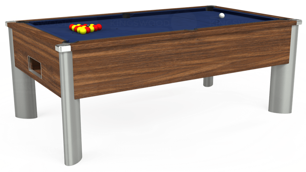 7ft Monarch Fusion Free Play Pool Table in Dark Walnut with Hainsworth Smart Royal Navy cloth delivered and installed - £1,300.00