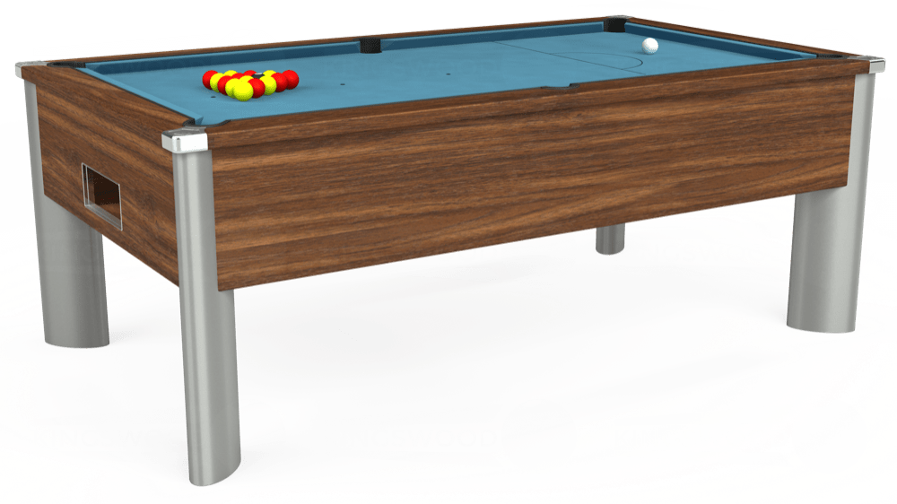 7ft Monarch Fusion Free Play Pool Table in Dark Walnut with Hainsworth Smart Powder Blue cloth delivered and installed - £1,300.00