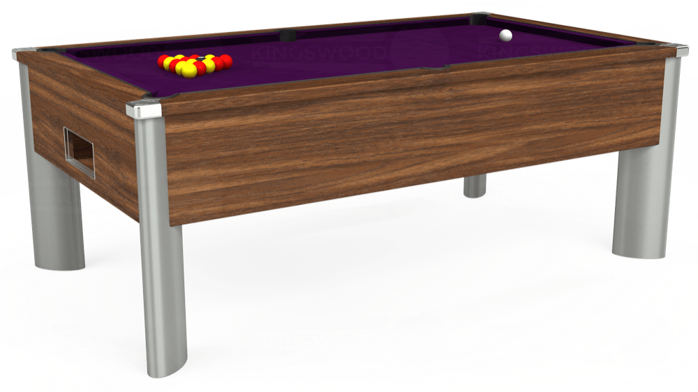 7ft Monarch Fusion Free Play Pool Table in Dark Walnut with Hainsworth Smart Purple cloth delivered and installed - £1,265.00