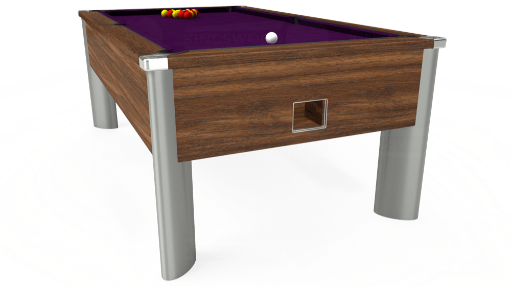 7ft Monarch Fusion Free Play Pool Table in Dark Walnut with Hainsworth Smart Purple cloth delivered and installed - £1,300.00