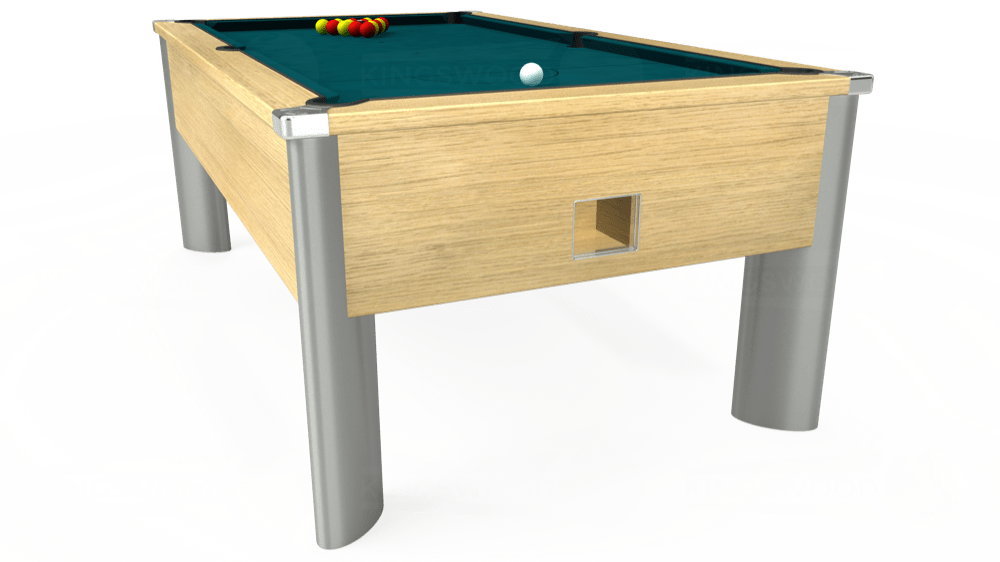 7ft Monarch Fusion Free Play Pool Table in Light Oak with Hainsworth Elite-Pro Petrol Blue cloth delivered and installed - £1,300.00