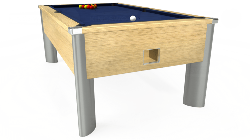 7ft Monarch Fusion Free Play Pool Table in Light Oak with Hainsworth Smart Royal Navy cloth delivered and installed - £1,300.00