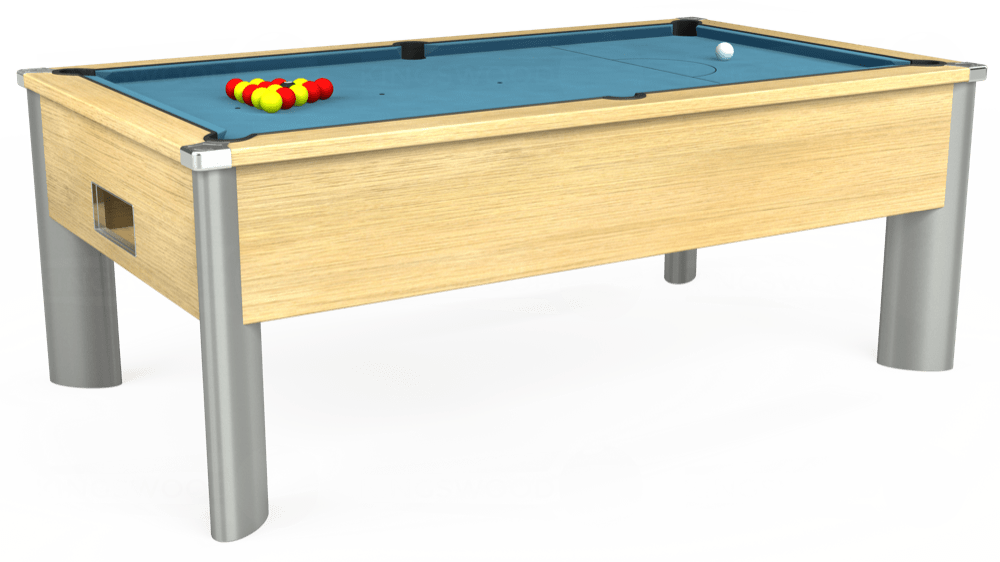 7ft Monarch Fusion Free Play Pool Table in Light Oak with Hainsworth Smart Powder Blue cloth delivered and installed - £1,300.00