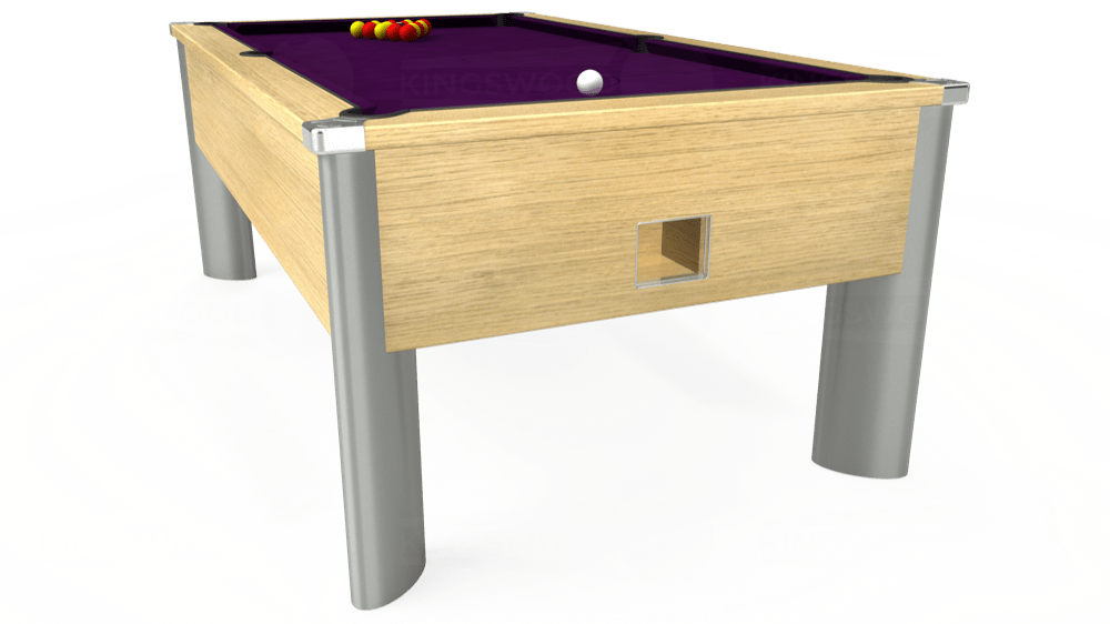 7ft Monarch Fusion Free Play Pool Table in Light Oak with Hainsworth Smart Purple cloth delivered and installed - £1,300.00