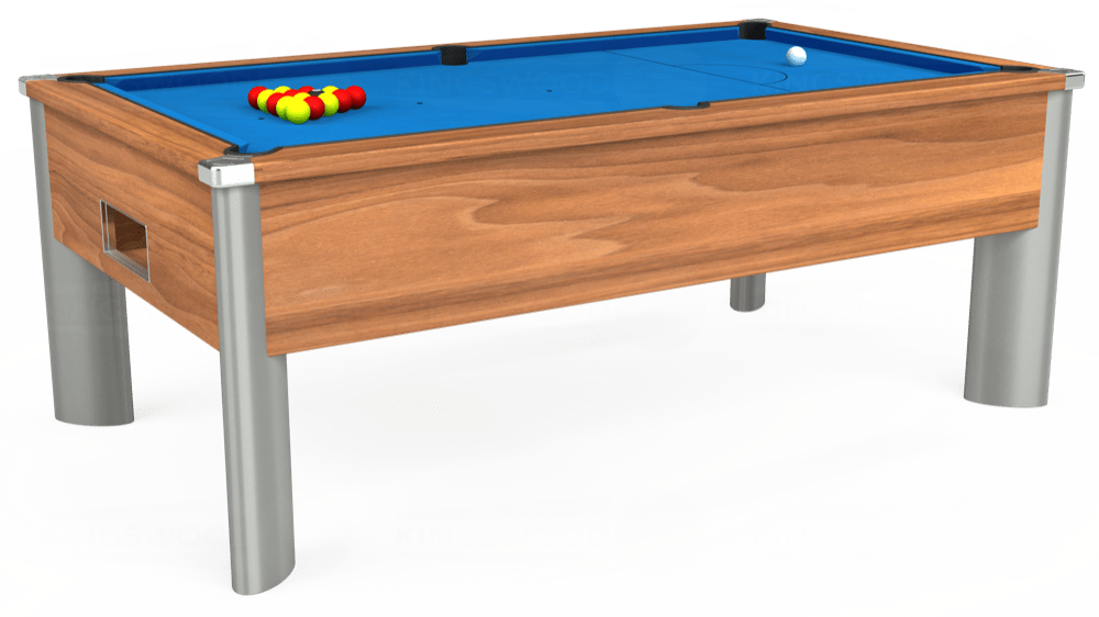 7ft Monarch Fusion Free Play Pool Table in Light Walnut with Hainsworth Elite-Pro Electric Blue cloth delivered and installed - £1,300.00