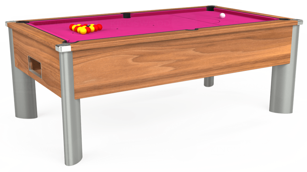 7ft Monarch Fusion Free Play Pool Table in Light Walnut with Hainsworth Elite-Pro Fuchsia cloth delivered and installed - £1,300.00