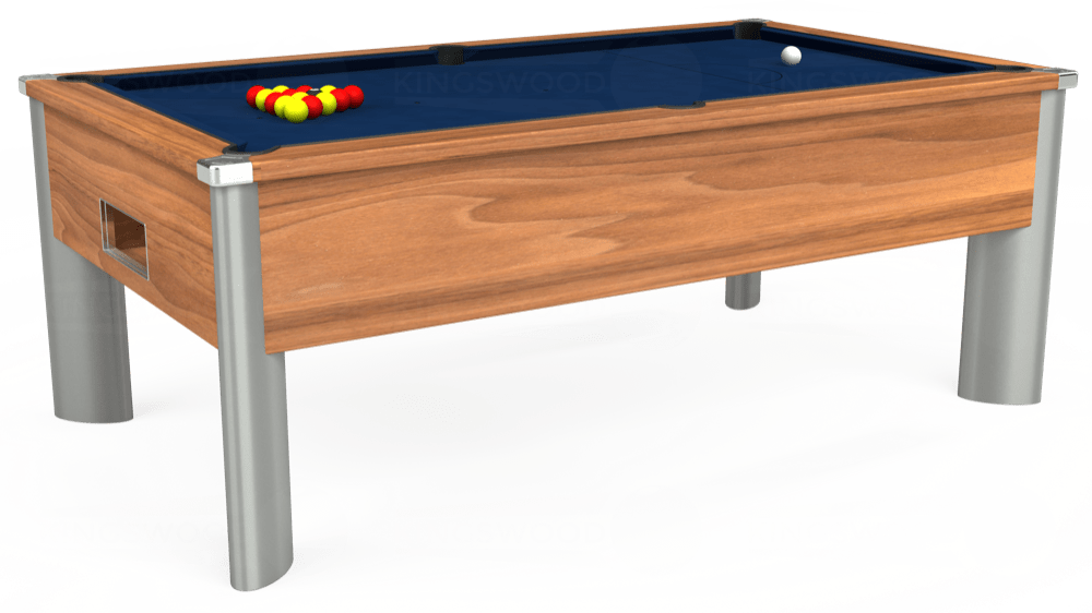 7ft Monarch Fusion Free Play Pool Table in Light Walnut with Hainsworth Elite-Pro Marine Blue cloth delivered and installed - £1,300.00