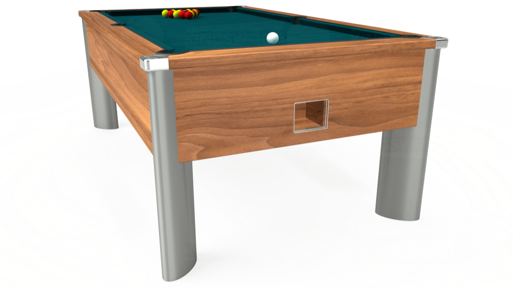 7ft Monarch Fusion Free Play Pool Table in Light Walnut with Hainsworth Elite-Pro Petrol Blue cloth delivered and installed - £1,300.00