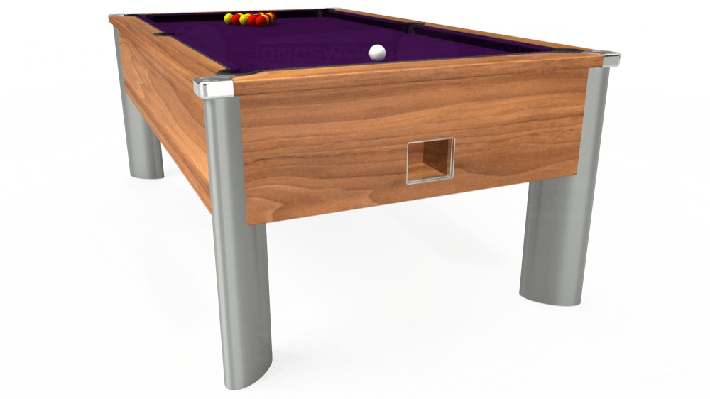 7ft Monarch Fusion Free Play Pool Table in Light Walnut with Hainsworth Elite-Pro Purple cloth delivered and installed - £1,300.00