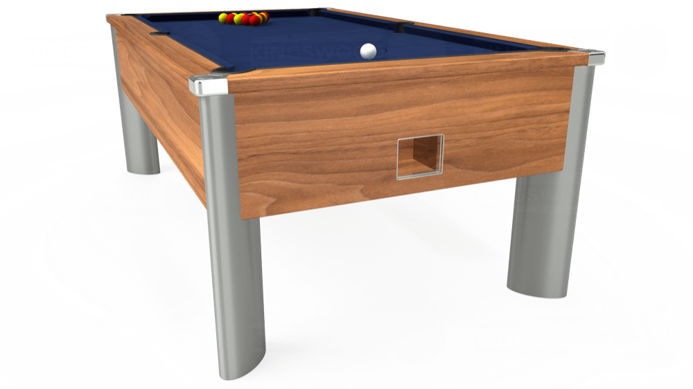 7ft Monarch Fusion Free Play Pool Table in Light Walnut with Hainsworth Smart Royal Navy cloth delivered and installed - £1,300.00