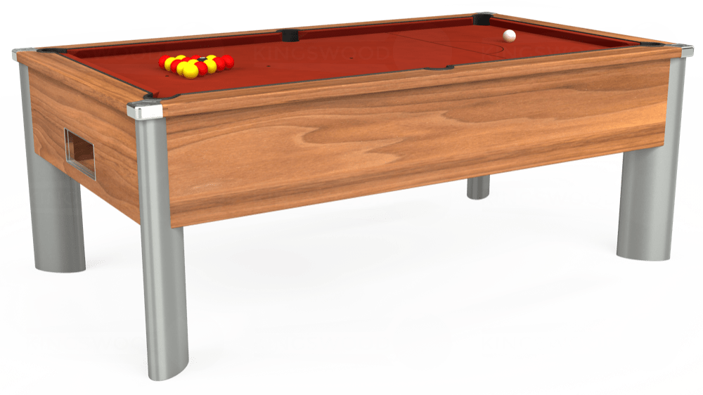 7ft Monarch Fusion Free Play Pool Table in Light Walnut with Hainsworth Smart Paprika cloth delivered and installed - £1,300.00