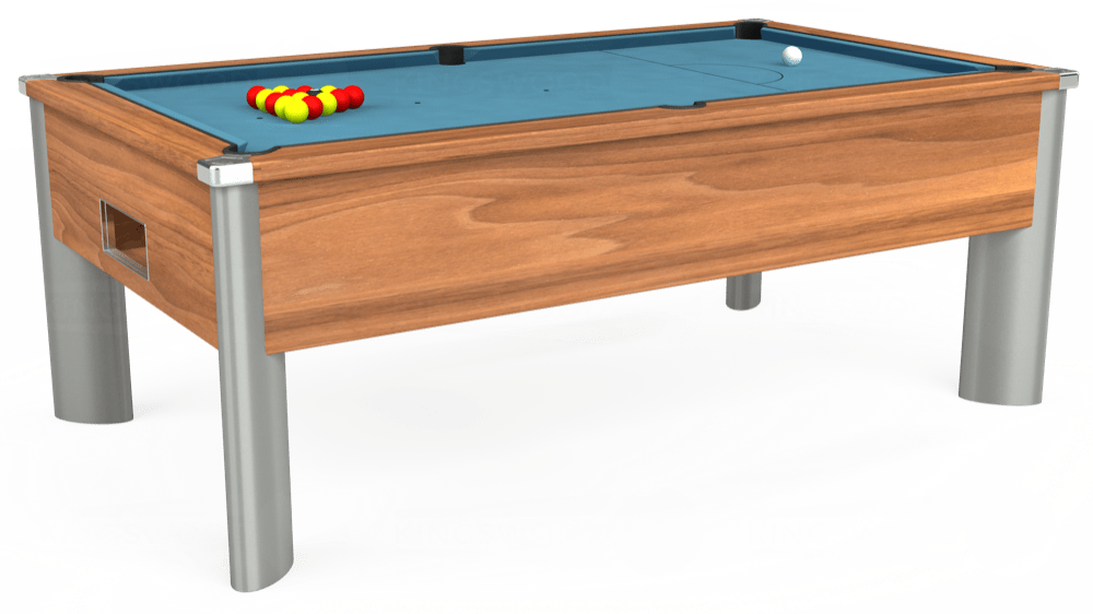 7ft Monarch Fusion Free Play Pool Table in Light Walnut with Hainsworth Smart Powder Blue cloth delivered and installed - £1,300.00