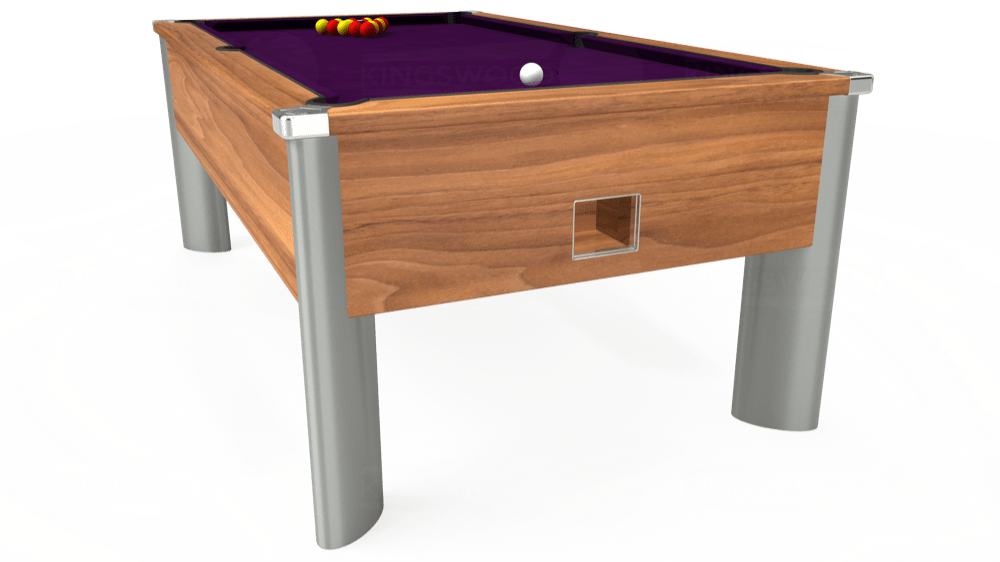 7ft Monarch Fusion Free Play Pool Table in Light Walnut with Hainsworth Smart Purple cloth delivered and installed - £1,300.00
