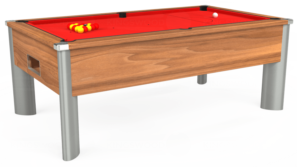 7ft Monarch Fusion Free Play Pool Table in Light Walnut with Hainsworth Smart Red cloth delivered and installed - £1,300.00