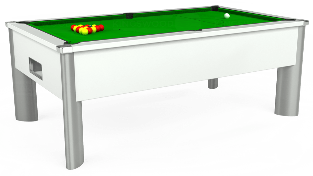 7ft Monarch Fusion Free Play Pool Table in White with Standard Green cloth delivered and installed - £1,165.00