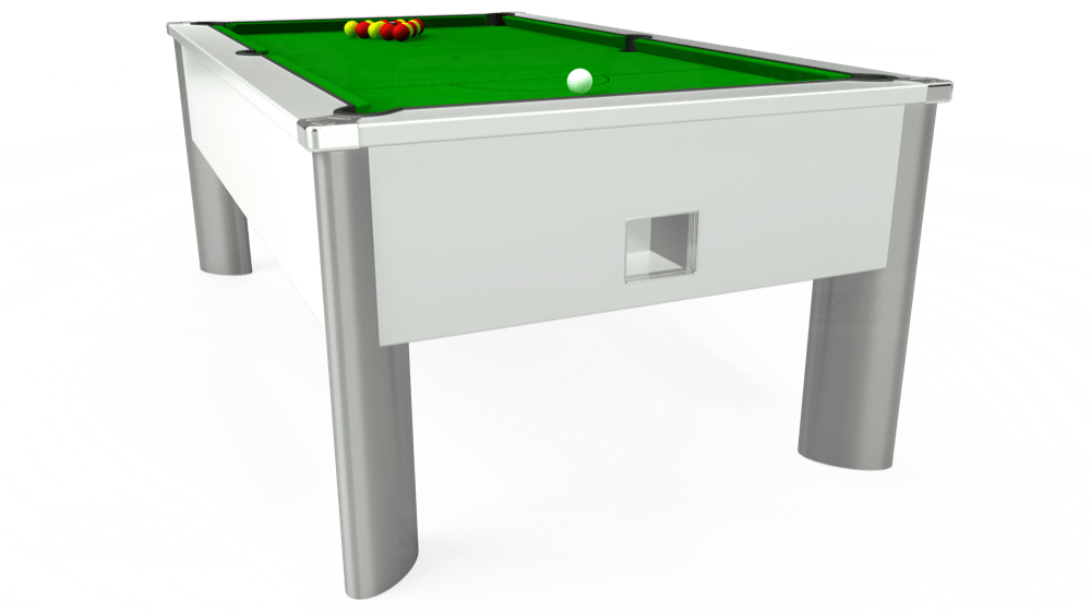 7ft Monarch Fusion Free Play Pool Table in White with Standard Green cloth delivered and installed - £1,075.00